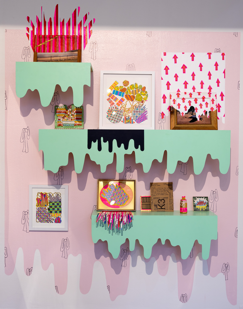 AMoCA Collection  Tchochkes, Trinkets, Knick-Knacks  (site-specific commission for AMOCA) wood, paint, paper, marker, colored pencil, cardboard, clay, modified found-objects 80x68x10 inches, 2018