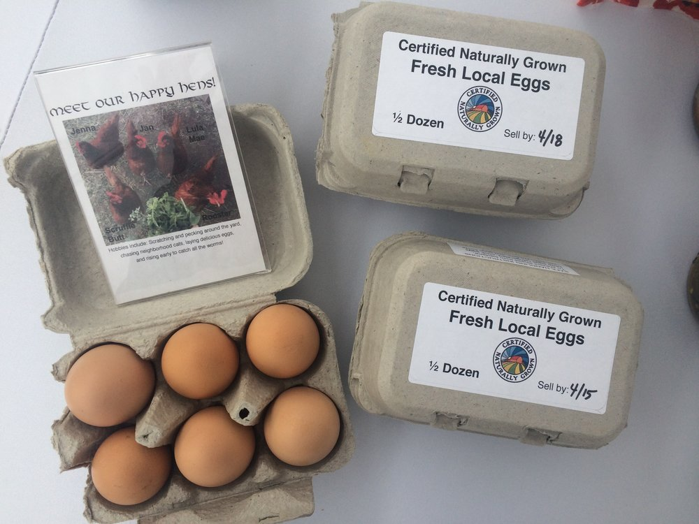 We use recyclable, compostable cardboard egg cartons. We can reuse the cartons if customers return them to us at market.