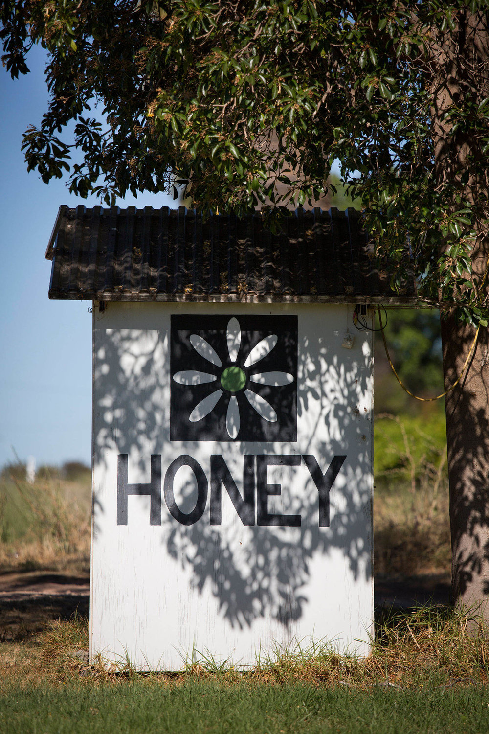 Roadside stall selling honey, Merbein, Victoria.