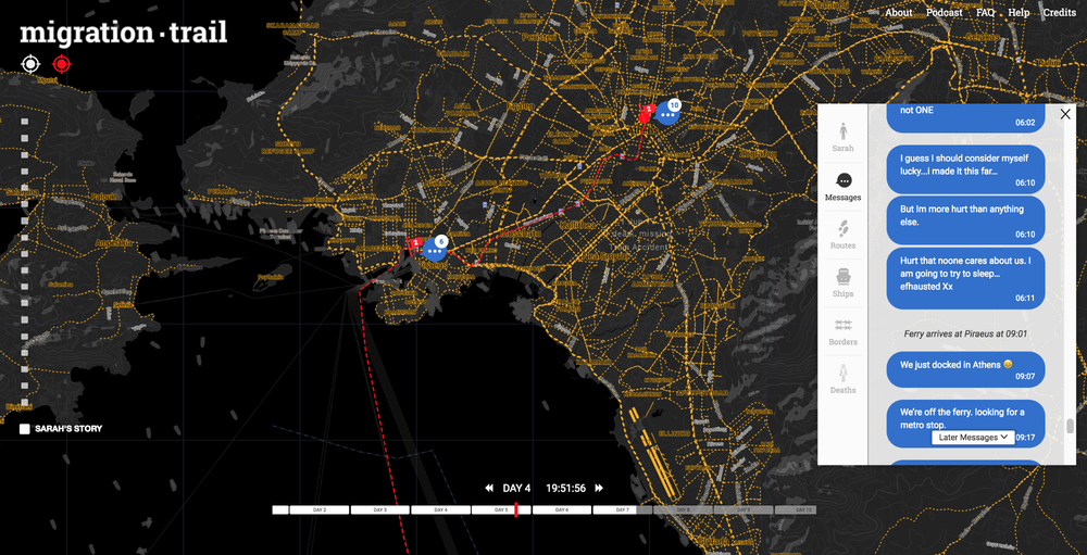 Alison Killing's interactive documentary project migration trail allows people to follow fictional migrants making their way to Europe via irregular routes, in real time, from a personal perspective—and accompanied by deeper context. Image: migration trail