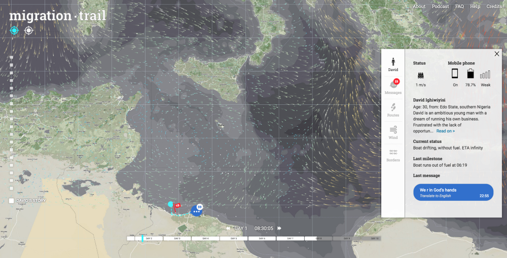 migration trail follows the journeys of two fictional characters—composites based on two and a half years of research and interviews on the migrant trail. Clicking and zooming on the interactive map offers information on each character. Image: migration trail