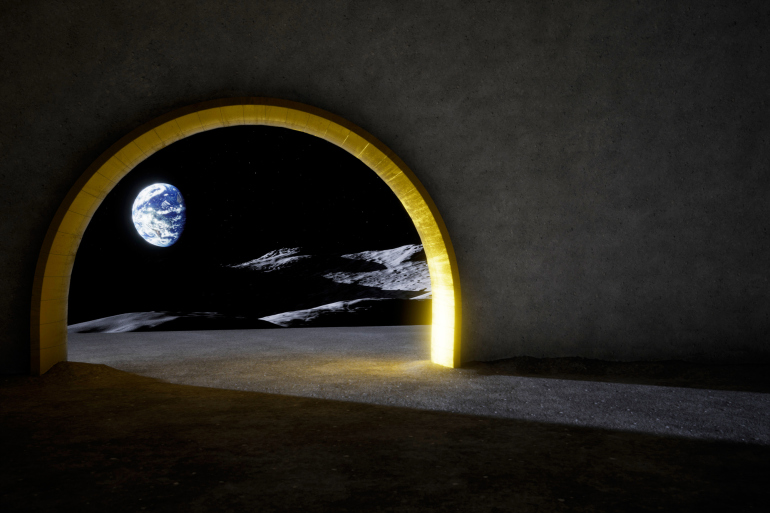 Just like some of human civilizations' ancient temples, the Moon temple merges science and the sacred — in this case, with a lunar liquid-mirror telescope, shown here in interior of the 3D model. Image courtesy of Jorge Mañes Rubio/DITISHOE.