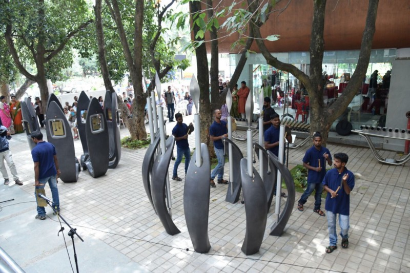 Outdoors, an interactive sound garden lets visitors make music of their own.
