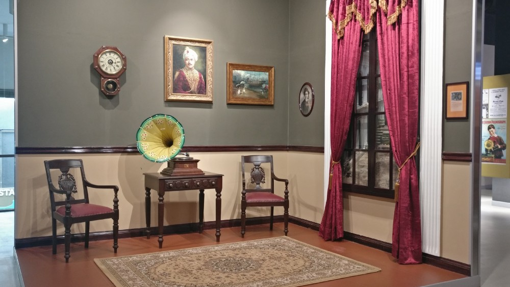 The Indian Music Experience includes samples of instruments and musical accessories of old, like this gramophone.