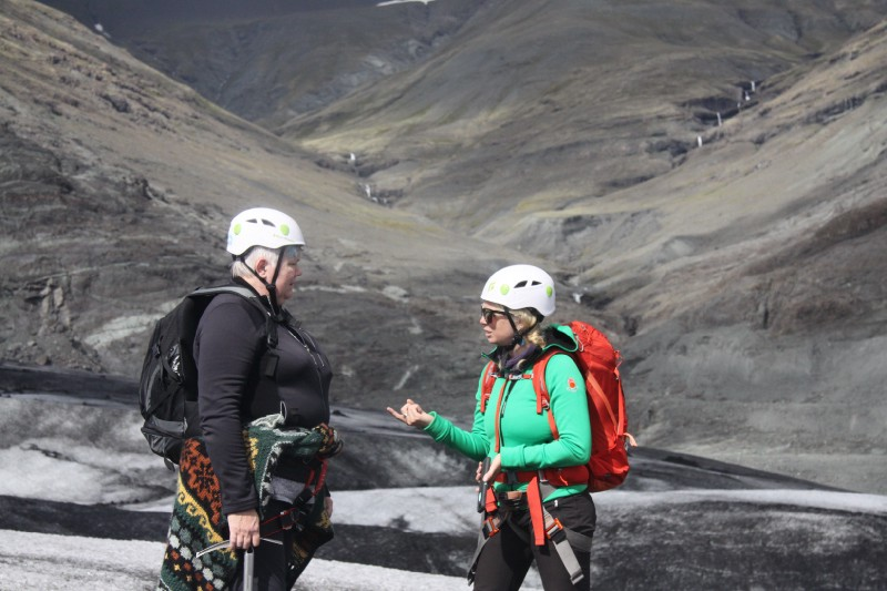 M Jackson (right) collects stories from Icelandic people about their relationship with the glaciers that surround them. Photo: Patricia Hensley