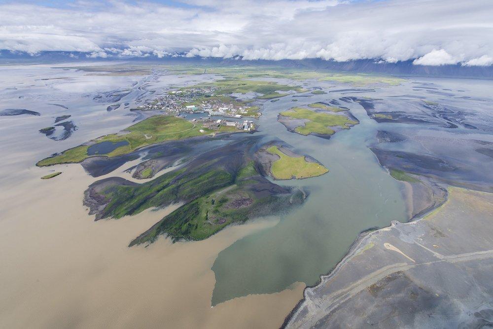 The town of Höfn in 2014 as seen from the air. Photo: Þorvarður Árnason