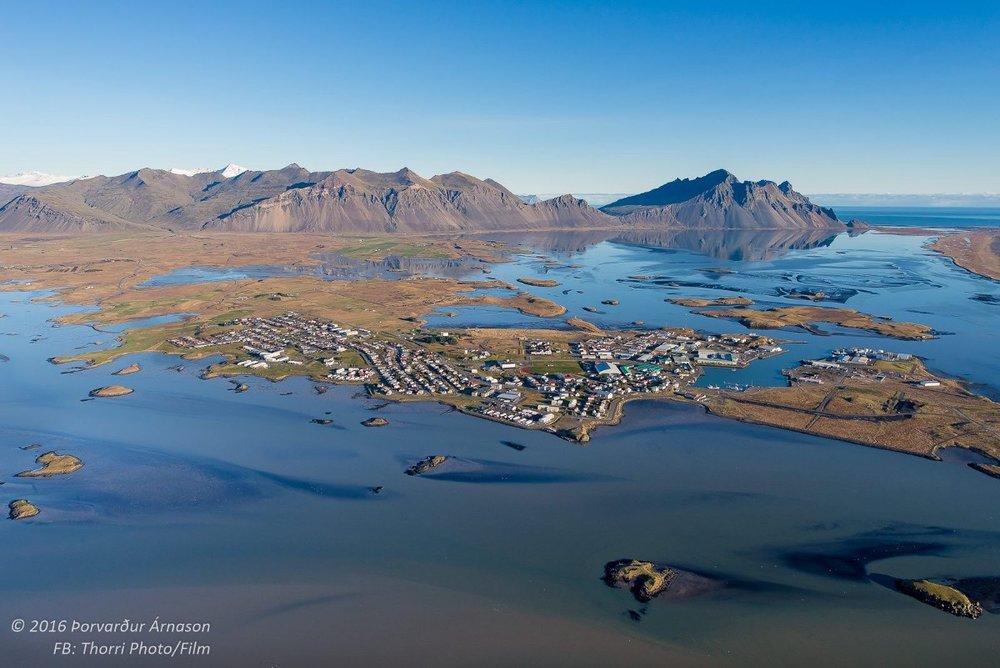 The town of Höfn in 2016 as seen from the air. Photo: Þorvarður Árnason