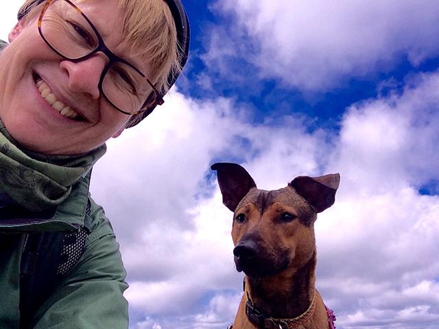 Jennifer and her beloved dog Penny on Silver Star Mt