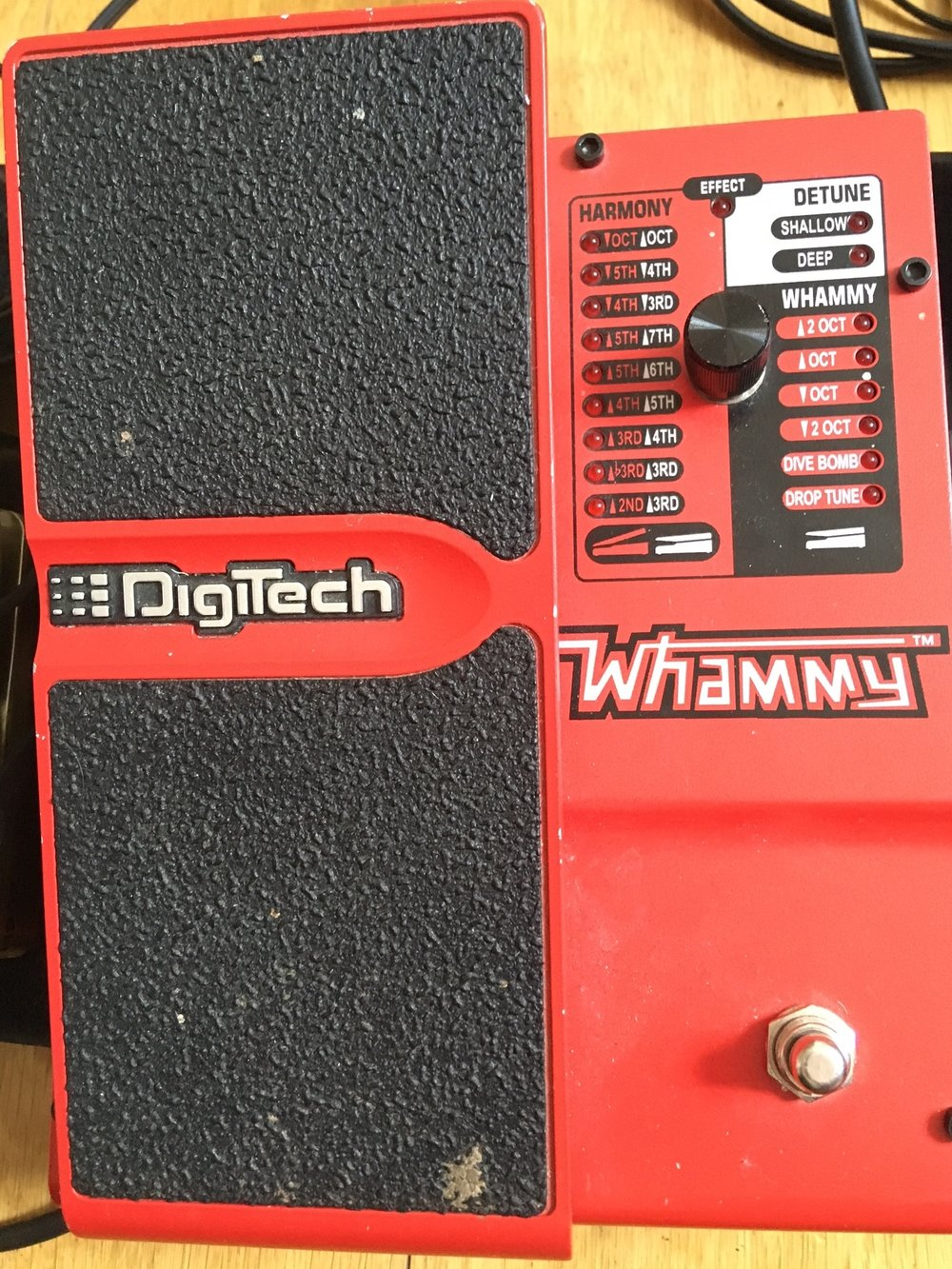 5 Whammy Pedal - The Patch cable that goes out of the output of the pre amp goes into my whammy pedal first ( you can put pedals in any order you like and I suggest  that you explore what order you like best .The patch cable plugs into the input of the whammy pedal ,Whammy pedals do something called