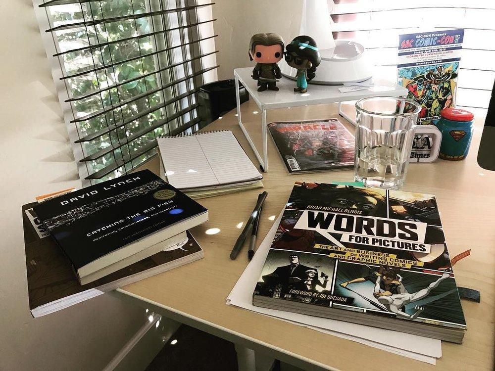 My desk on a Sunday in sunny Sacramento, Calif.
