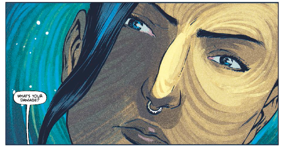 Rodrigues and Farrell's artwork shows hints of tree rings in the characters' faces.