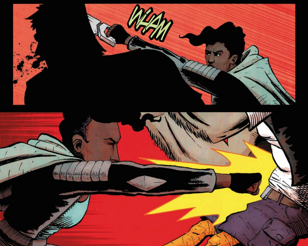 Smith and Saxon excel at conveying impact in  Vagrant Queen #1.