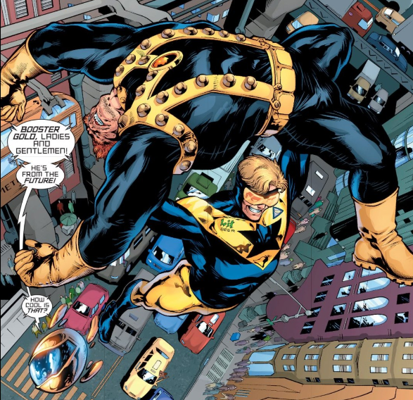 Booster Gold and his robotic hype man, Skeets.