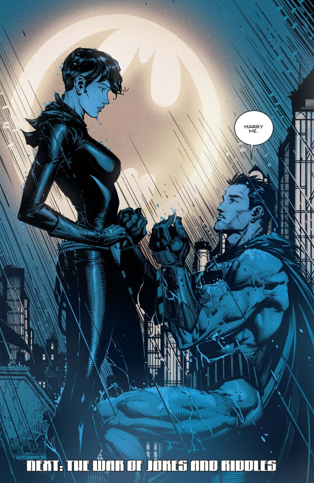 Bruce's proposal in  Batman #24  was followed by a confession that he felt unworthy because he'd nearly taken a life.