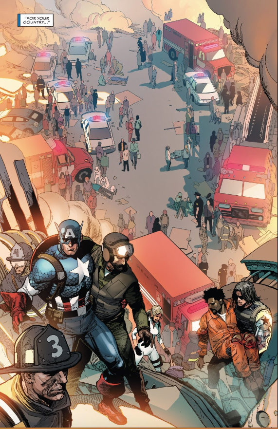 This powerful image shows  Captain America  and  Bucky  helping in the aftermath of a mass shooting event.
