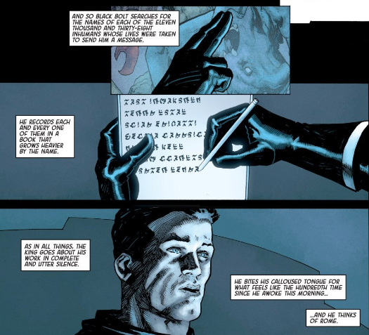 The poetic characterization of Black Bolt is one of this issue's major strengths.
