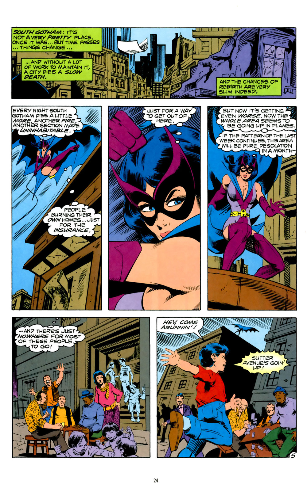 Classic Helena Wayne as The Huntress contemplates crime and its causes in South Gotham City.