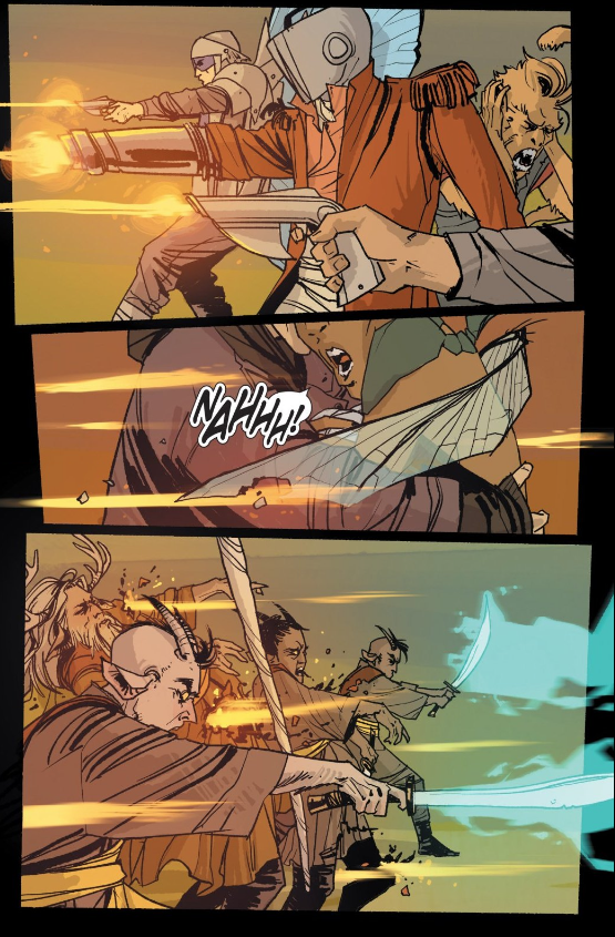 A rare scene of the two species in combat. The war the series is so heavily informed by is afterward waged mostly off panel.