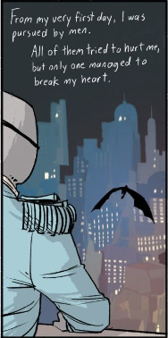 This foreshadowing is yet to come to fruition, although it is established a few panels later that Alana carries a non-lethal weapon called a heart breaker...