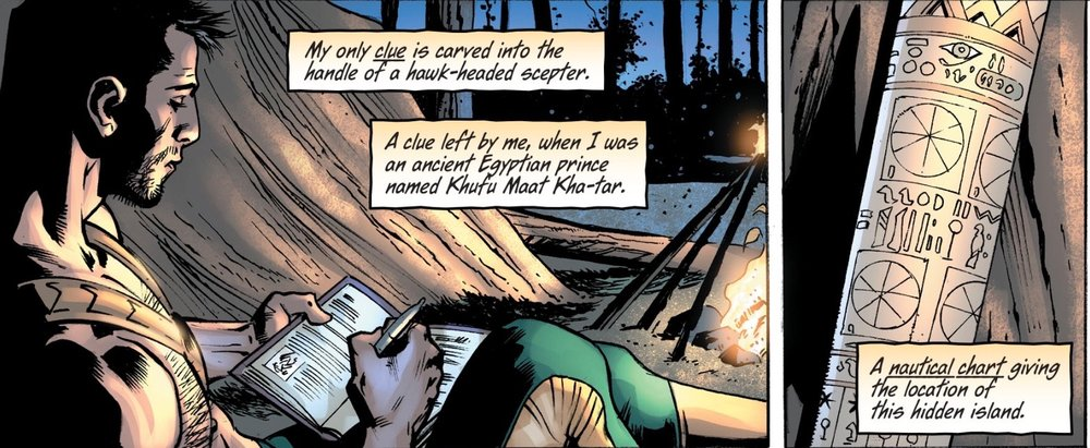 From  Hawkman #3 , our hero pours through his journal, reminding us of the status of his quest.