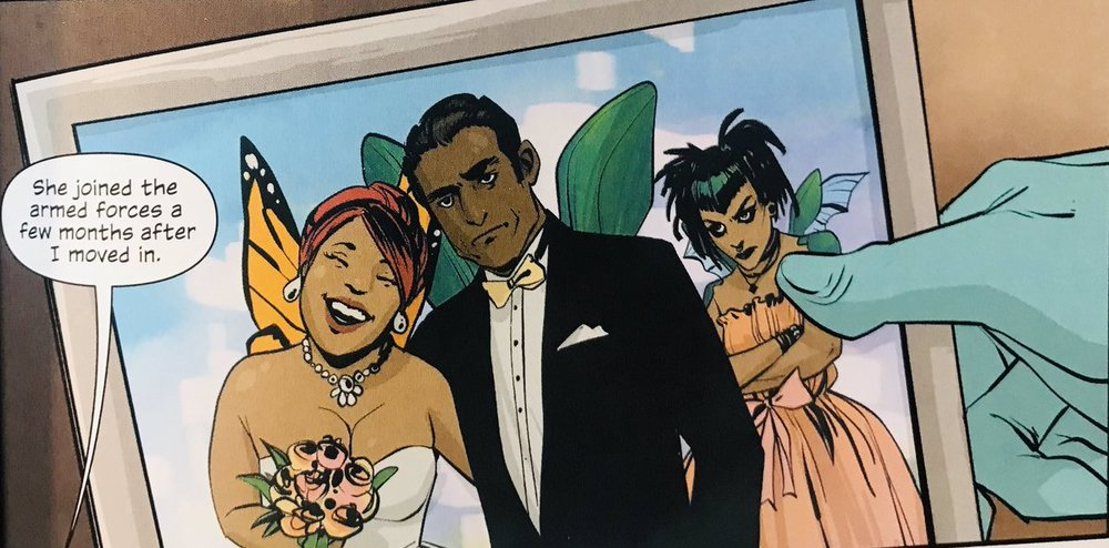 From Alana's goth haircut to the non-plussed look on her father's newly-wedded face, this one panel reveals so much about her background and character.