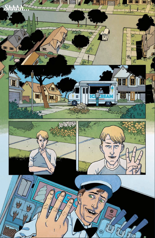 From here,  Ice Cream Man #6  splinters into three timelines, and structural comics greatness ensues.