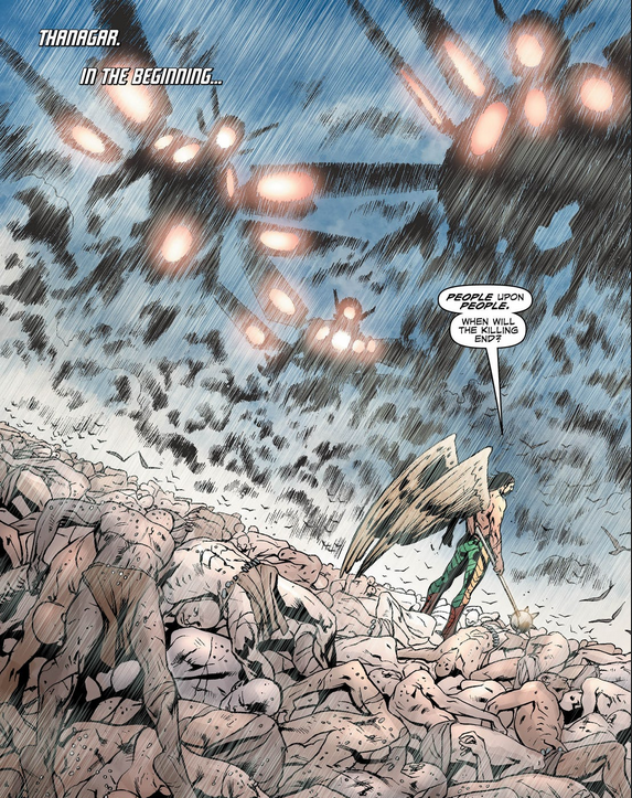 In  Hawkman #7 , we see a past life in which Hawkman committed unspeakable atrocities.