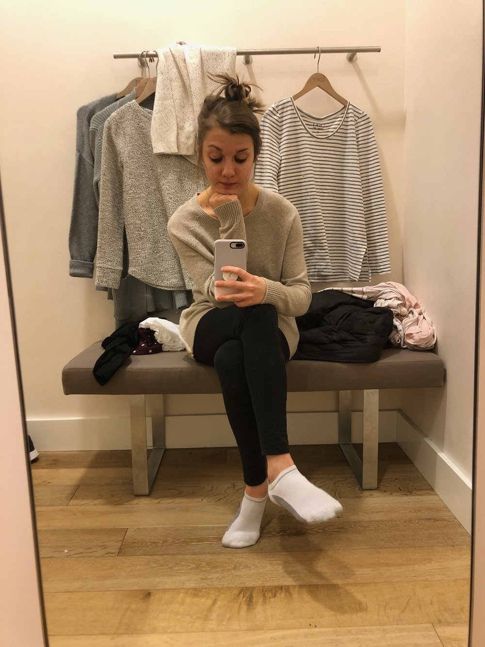 Me taking a break - there was no one waiting for a fitting room, I'm not an asshole.