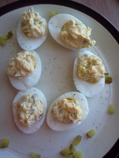 Deliciously Devo'd Dill Pickle Deviled Eggs