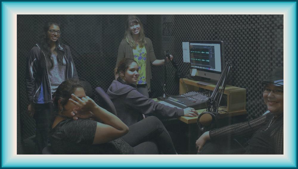 Recording in the studio.