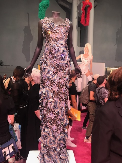 This Dress Is Nothing But STUNNING! The Floral Details Are Made Out Of Safety Pins. Worn By Rupaul.