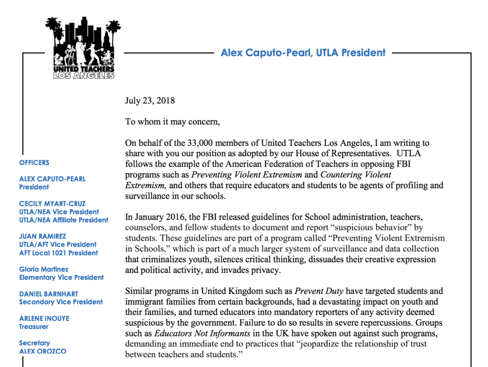 UTLA Anti-CVE Letter - The United Teachers of Los Angeles representing 33,000 teachers in Los Angeles in coalition with Stop LAPD Spying Coalition, Palestinian Youth Movement, Black Students Union and Immigrant Youth Coalition released a letter firmly opposing CVE.