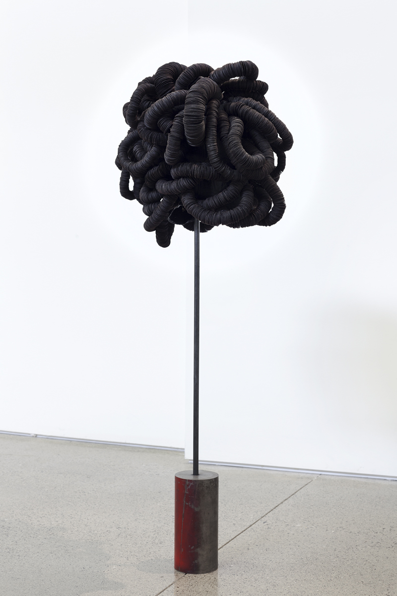 coiled form, tar paper, steel, armature, 2017