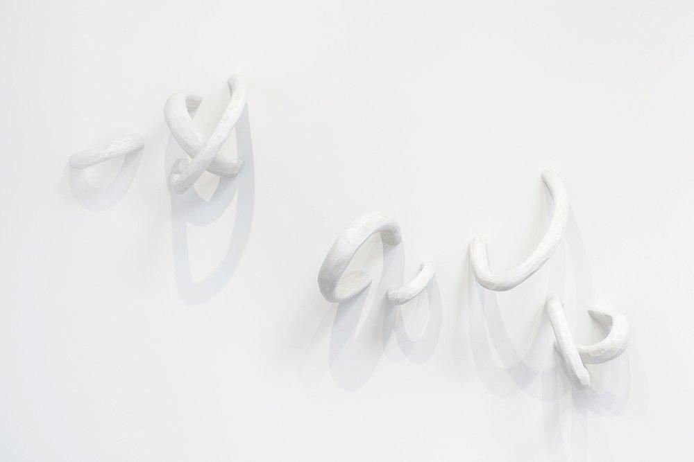 white loops, wood, acrylic, 2017