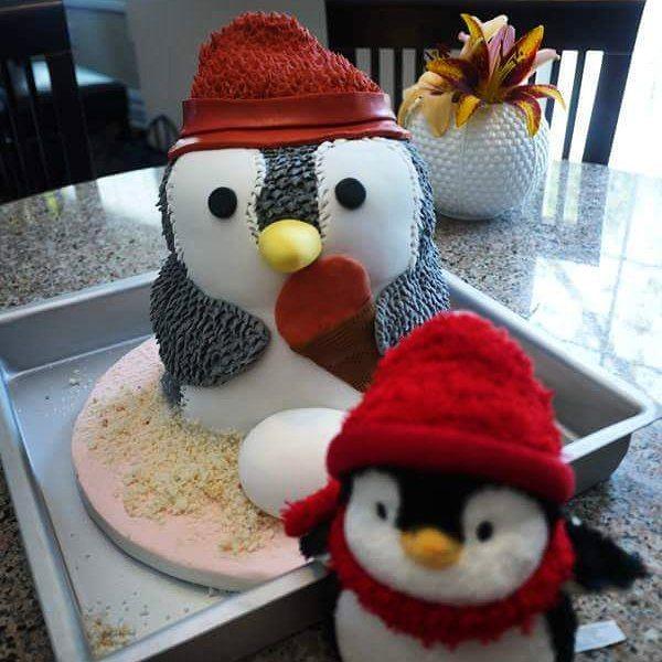Penguin Baby Shower Cake #babyshower #fondant #stuffedanimal