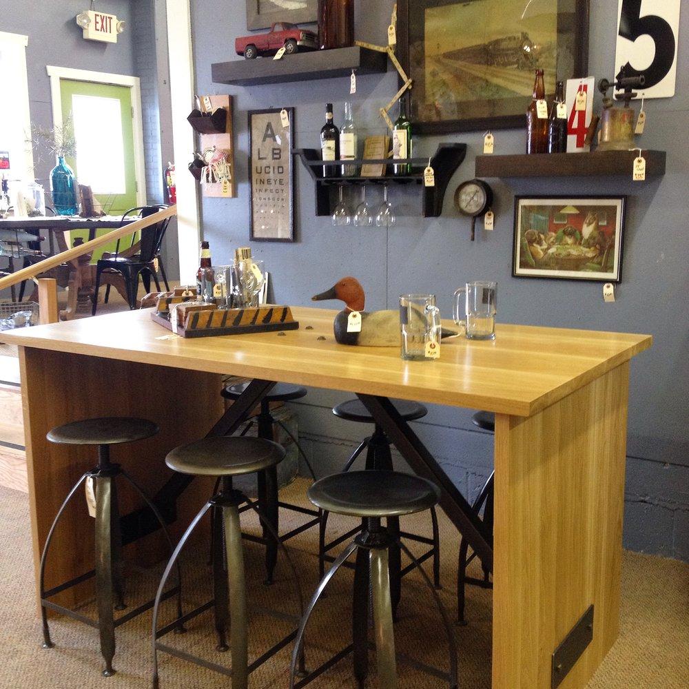 Oak Waterfall Bar Table