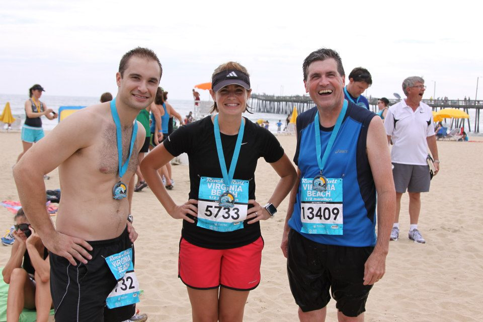 """I've run 12 half marathons and two full marathons. The Virginia Beach rock & roll half is my most frequent race, which both Philip and my dad have also completed. I'm not competitive at all, running is one of the ways I process life and take a little """"me"""" time."""