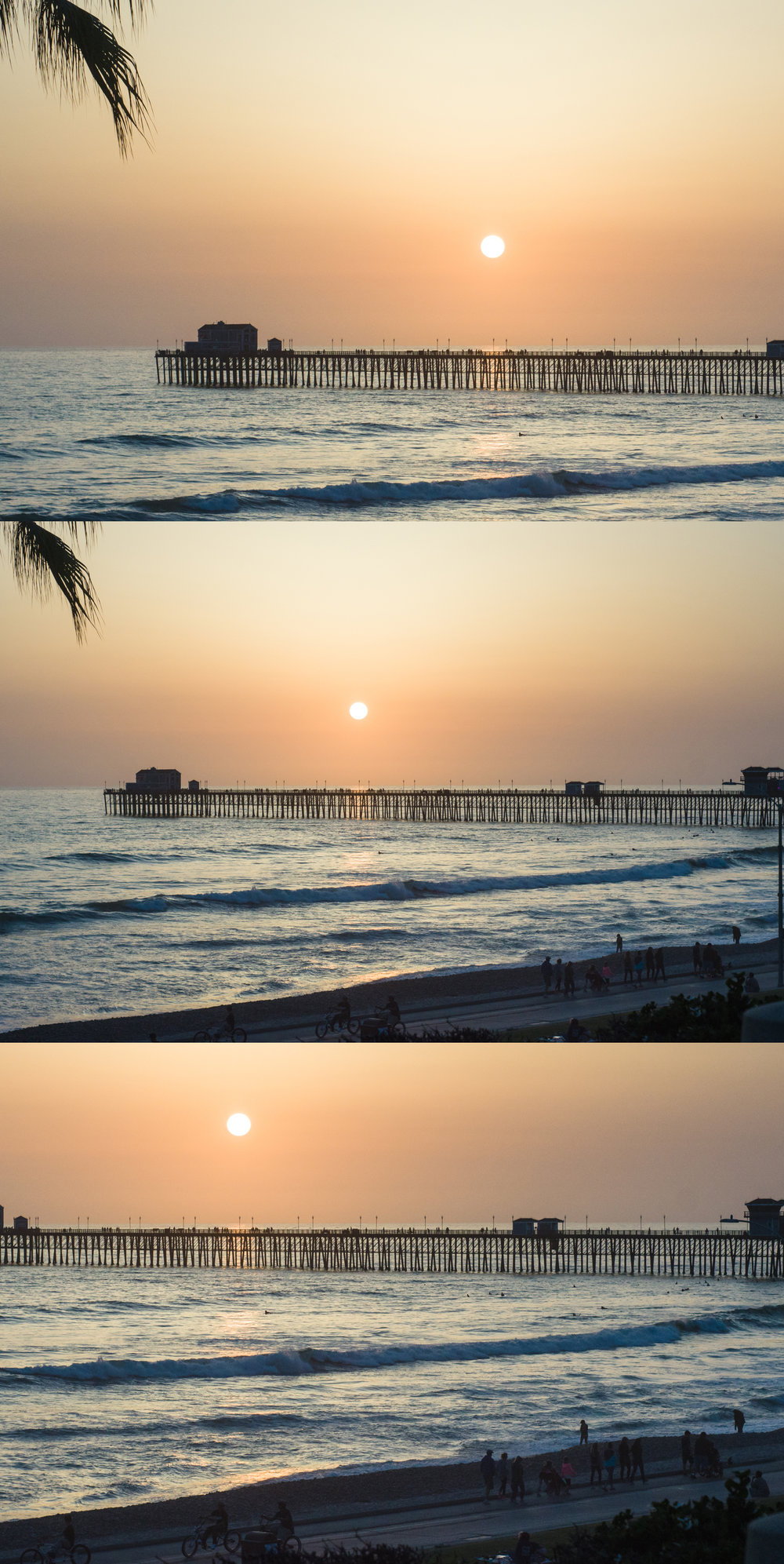 Here is a picture of the pier in Oceanside, CA. The top image has the horizon in the bottom 3rd, the bottom has it in the top 3rd, and the middle image is the original. Now look at each image and see where our eye is drawn and how that effects what the image is about.