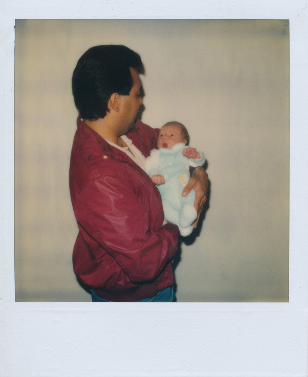A polaroid of my Dad and my oldest Nephew in the mid to late 80s. No processing until I scanned it.