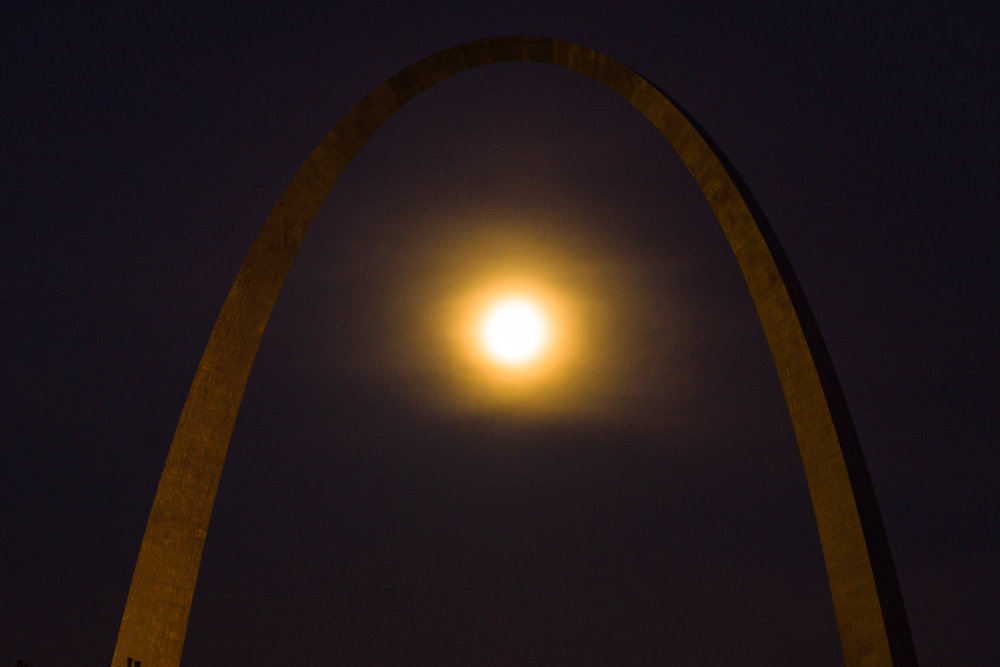 This was the second shot that I did. To see the arch I had to lose detail in the moon. I was not happy with that. I took another couple of shots with the idea that if my move to a new location didn't work I could combine the photos. My friend in St. Louis says this is the best image of the Arch he has ever seen.