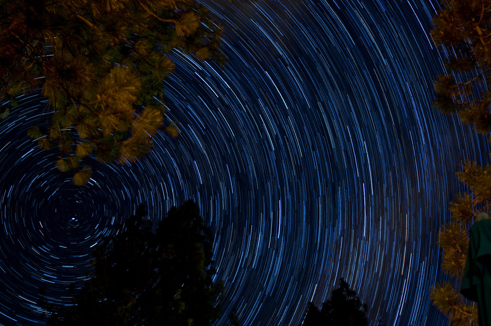 Here is a stack of 30 second exposures taken back to back from a balcony in Lake Tahoe. Pointed North - Northeast. Around 140 images put together for a total of a 70 minutes exposure, each photo was  30 seconds each, 28mm, f2.8, 200 iso.