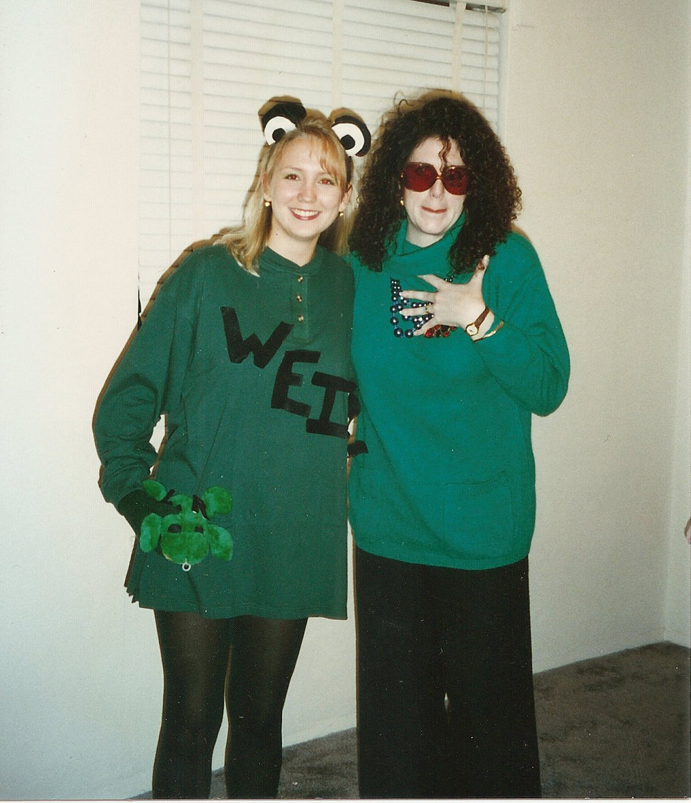 My BFF and me all farklempt dressed up as Linda Richman (The whole costume came out of my mom's closet. I only had to pay for the Lee Press-on Nails) circa 1999. Oy.