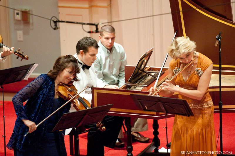 Bach's Concerto in A Minor, for harpsichord, flute, violin, strings. With Ani Kavafian (violin) and Marya Martin (flutist and artistic director)