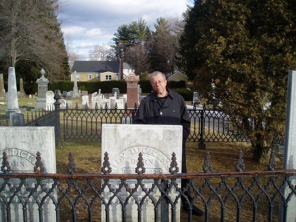 ac at emily dickinson's grave amherst feb 2006.JPG