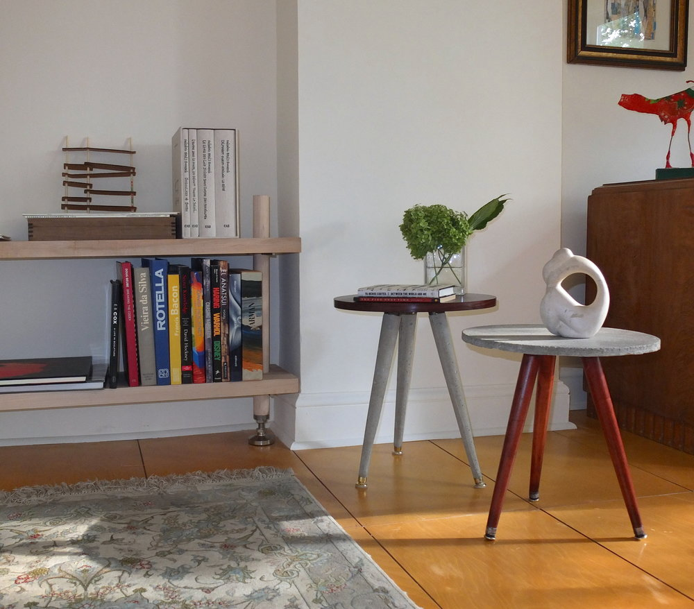 Rosewood and concrete side tables-living room