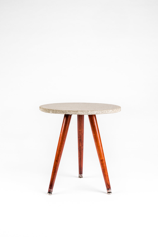Concrete & wood side table