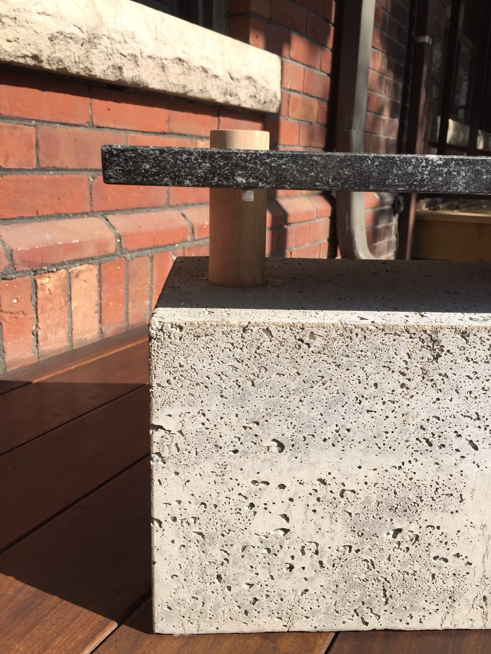 Close up shot of collectible concrete bench