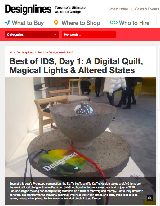From January 15 to 21, Designlines Magazine was awarding 100 Designlines Loves tags to the most beautiful, most innovative, and flat-out wackiest stuff they encountered. LALAYA Design made the cut!