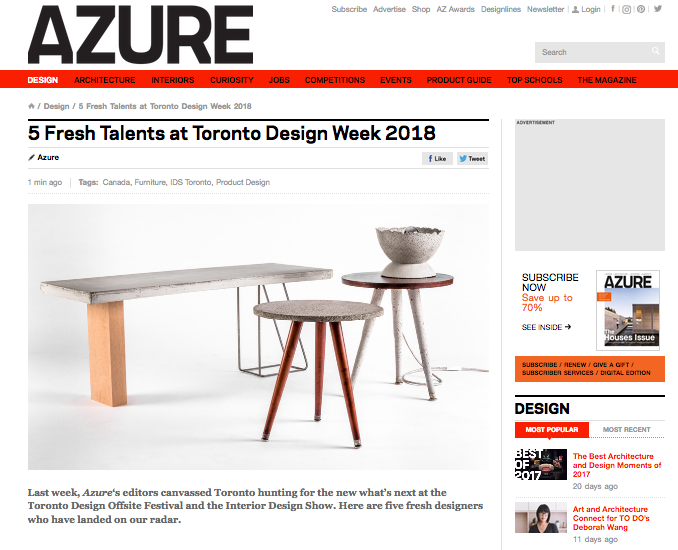 AZURE Magazine, Canada's top design publication, canvassed the city during Design Week and highlighted the top 5 emerging talents for this piece.
