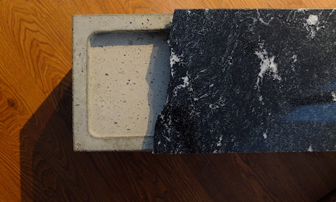 Concrete and granite bench top view